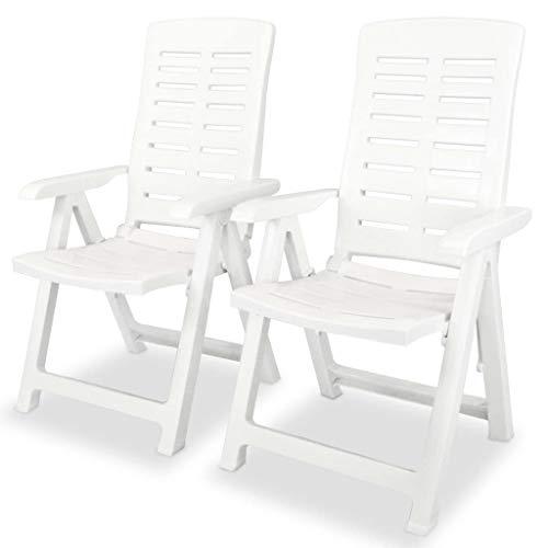 vidaXL 2X Gartenstuhl Verstellbar Witterungsbeständig Hochlehner Liegestuhl Klappstuhl Klappstühle Gartenstühle Stuhl Stühle Kunststoff Weiß