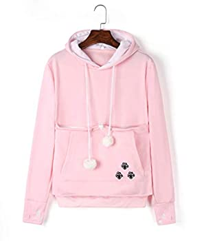 Unisex Women Pet Cat Dog Holder Carrier Hoodie Long Sleeve Big Pouch Kangaroo Sweatshirt  Pink L