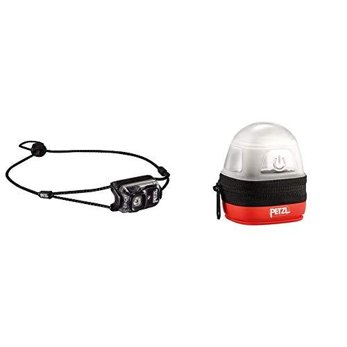 PETZL Erwachsene Bindi Stirnla, schwarz, 35g & Erwachsene Noctilight Stirnlampe Schutzhülle, One Size, Schwarz/Orange