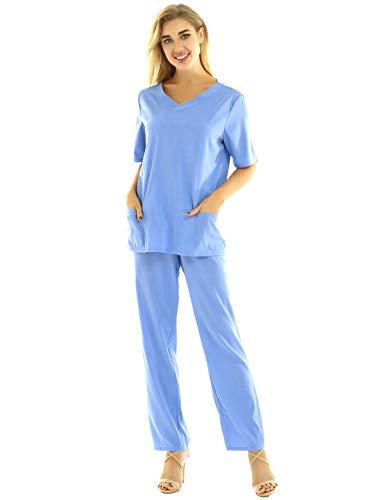 Alvivi Donna Uniforme Sanitaria Infermiera Dottoressa Dentista in Cotone Set Divisa Ospedaliera Camicia Top a Maniche Corte Pantaloni Lunghi Abbigliamento Specifico Azzurro L