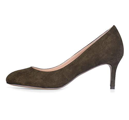CASTAMERE Damen Mittel Heels Runde Zehen Sexy Elegant Pumps Stilettos 6CM Grün Olive Wildleder Schuhe EU 41