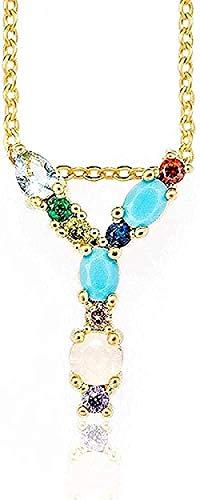 ZPPYMXGZ Co.,ltd Collar de Moda y - Collar Dorado con Letras Iniciales para Mujer Colgante de circonita cúbica Nombre Cadena encantos Collar para Mujer joyería de Regalo