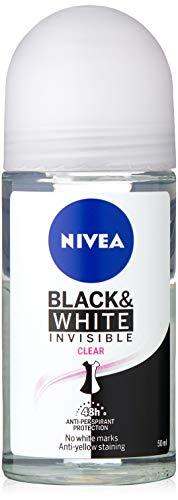 NIVEA Black & White Invisible Clear Roll On Anti-Perspirant Deodorant, 50ml