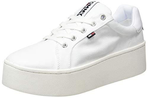 Tommy Jeans Damen Flatform Sneaker, Weiß (White 100), 39 EU
