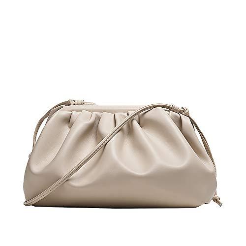 Womens Pouch Dumpling Crossbody Bag Cloud Handbag Soft Clutch Purse Shoulder Bag, White