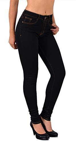 ESRA Damen Jeans Jeanshose Damen Skinny High Waist Hochbund Hose bis Übergröße S300, J322, 38