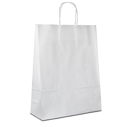 100 x Papiertüten weiss 32+12x41 cm | stabile Kraftpapiertüten | Papierbeutel Kordelhenkel | Tragetaschen Mittel | Werbetaschen | HUTNER
