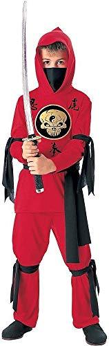 Tante Tina Ninja Verkleidung Kinder - 3-teiliges Ninja Kostüm für Jungen mit langärmligen Kapuzenoberteil, Hose und Gürtel - Rot / Schwarz - Größe M ( 128 ) - geeignet für Kinder von 5 bis 7 Jahren