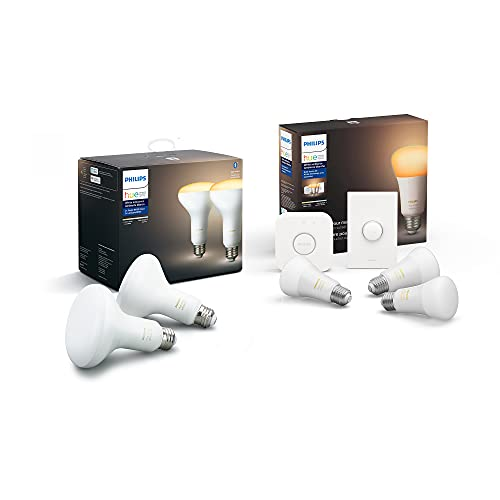 Philips Hue Smart Button Bundle – (2 White Ambiance BR30 Bulbs, 3 White Ambiance A19 Bulbs, Hue Hub, Smart Button), Compatible with Alexa & Google Assistant