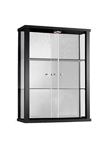 Vitrina Mueble de pared 80x60x25 cm negro con 2 estantes de