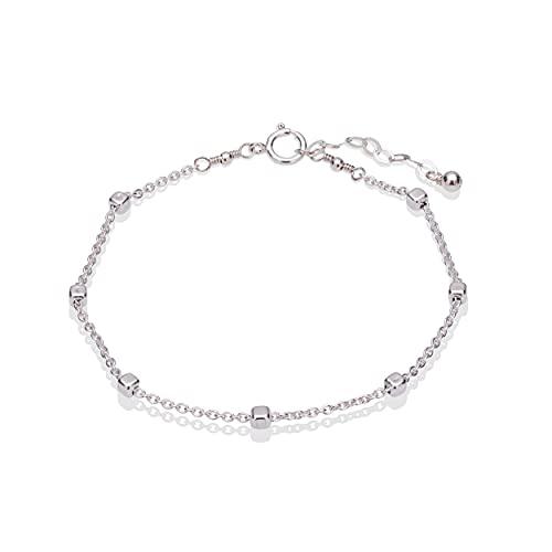 Sterling Silver Squares Satellite Chain Bracelet