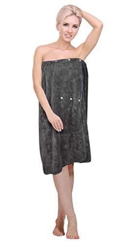 KinHwa Womens Spa Wrap Microfiber Bath Wrap Towel with Adjustable Snap Closure Absorbent Soft Bathrobe for Shower Gym 32inchx60inch 1 Pack Dark-Gray