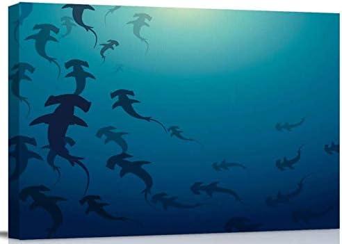 Bathroom Wall Art Decor 新色 Canvas Oce Painting Shark 購入 Hammerhead Oil