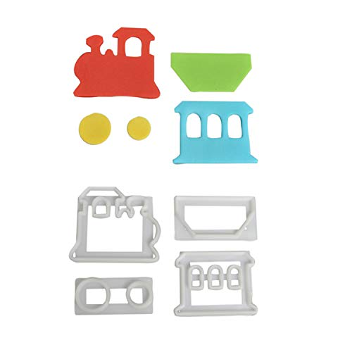 1 FMM Zug | Eisenbahn Ausstecher-Set aus Kunststoff | Tortendeko | für Fondant und Blütenpaste