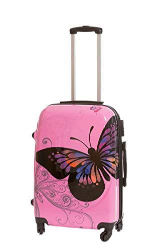 Maleta Grande Mariposa Rosa 76x48x28 cm 4 Ruedas, con candado de combinación