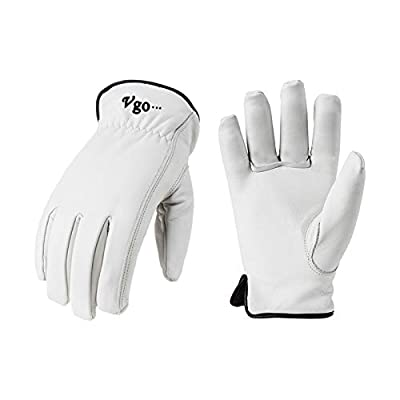 Vgo 2Pairs 32? or Above Lined Winter Cow Grain Leather Work and Driver Gloves (Size L,Cream,CA9501F)