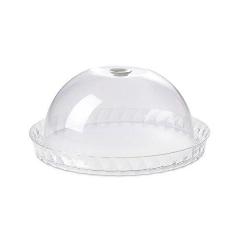 Omada Design 36 cm de diseño plano, 16.5 cm de alto, soporte para pastel con tapa de plástico irrompible, Diamond Line