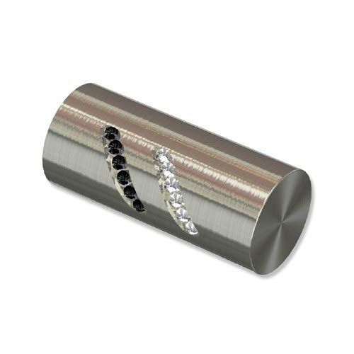 INTERDECO Endstücke Zylinder mit Glitzersteinen, Edelstahl-Optik aus Metall für Gardinenstangen 20 mm Ø (2 Stück)