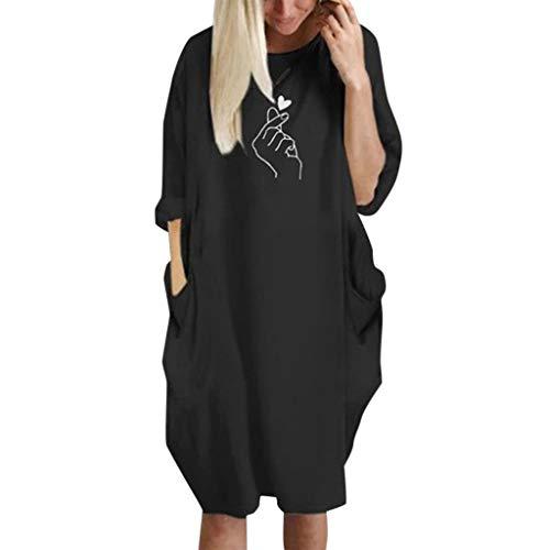 NPRADLA Damen Langarm Kleid Rundhals Tunika mit Taschen Große Größe Casual Oberteile Bluse Tops