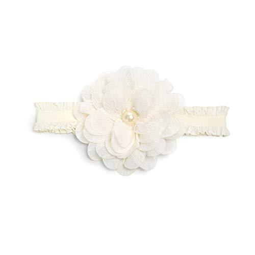 Auxm Bebé niñas recién Nacido Turbante Diadema Hairband Flor Cintas para el Pelo para 0-4 años (Beige)