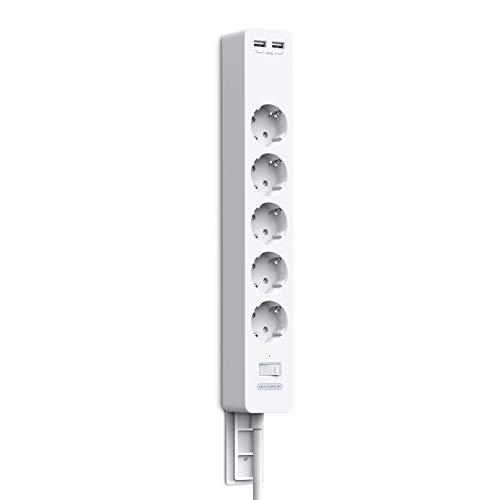Steckdosenleiste Überspannschutz Anschraubbar 5-fach mit Paster NTONPOWER Mehrfachsteckdose mit USB und Schalter Verlängerungskabel 1,5m PC Steckdosenleiste Kindersicherung, weiß, MEHRWEG
