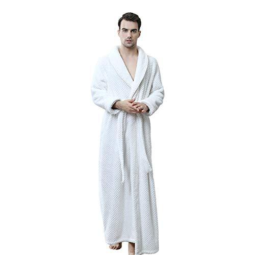 YSKDM Albornoz Suave Ropa de Dormir Masculina Ropa de Dormir Informal Camisón de Lana Coral Otoño Invierno Nuevos Amantes Vestido de Kimono Ropa Gruesa para el hogar, Hombres Blanco, XL
