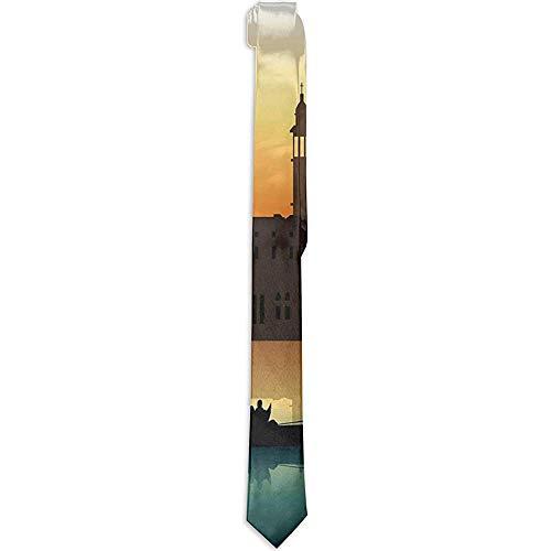 Warm Night Herren Krawatte mit Blumenmuster, Menschen in Gondeln Venedig Stadt von historischer Bedeutung Abstrakte Illustration, Krawatten für Herren