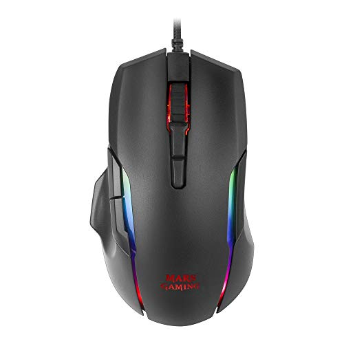 Mars Gaming MMX, Ratón Gaming Óptico 12400DPI, Chroma RGB, Switches HUANO, Negro