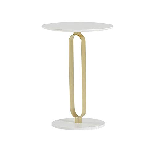 XLEVE Nordic Marmo Rotonda Creativa Piccolo tavolino da Salotto Semplice Divano Laterale ad Angolo Comodino Tavolo tè Assemblea Facile Soggiorno Tavolo