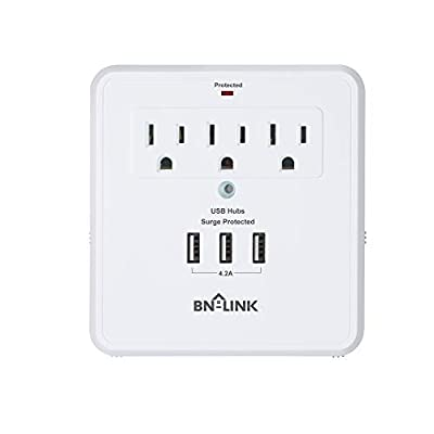 BN-LINK Plug in Multi-Outlets USB Adapter Surge Protector Design with 3 AC Outlets & 3 USB Port Charging Station wit 2 Slide Out Phone Holders for Home and Office Electronics 1875W 15A ETL Listed