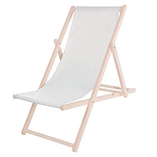 SPRINGOS - Tumbona de jardín de madera lacada plegable, silla de relax, silla de playa, plegable, madera de haya de color gris claro
