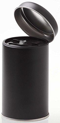 INDIGOS UG - Gewürzdose - schwarz - groß - 90x56 mm mit Aromadeckel und Streuer (10 Stück)