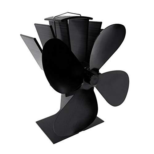 Hothap Aluminium 4-vleugels, zelfaangedreven ventilatorkachel, geruisloos, milieuvriendelijk, brandstofbesparend, voor houtvuur, open haard, eco-ventilator