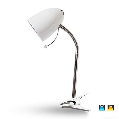 Leselampe Klemmbar Klemmleuchte Retro Schreibtischlampe Tischlampe Arbeitsplatzlampe Nachttischleuchte mit Gelenk-Arm aus Metall, Weiß