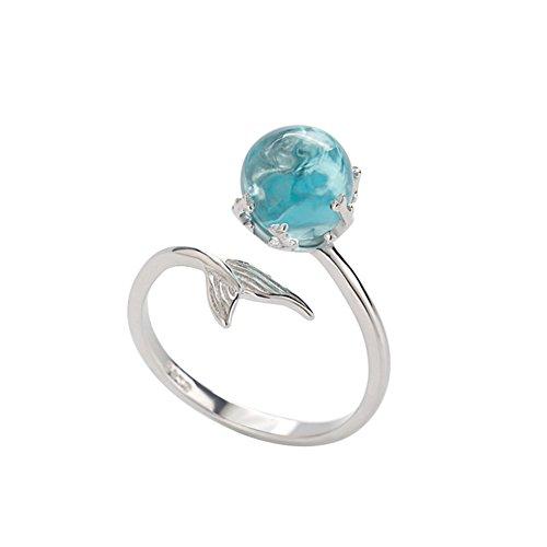 Demarkt Meerjungfrau Offen Ring Damen Blau Kristall Ball Ring Verstellbar