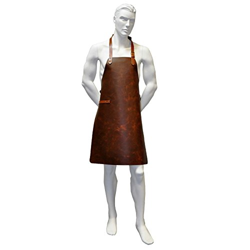 Wertiger Grillschürze/Lederschürze/Kellnerschürze aus Leder (((geeignet für Barista, Gastronomie & Grillen))) - 2 Farben Auswählbar - L - 62,5 x 85cm (Tan Braun Vintage)
