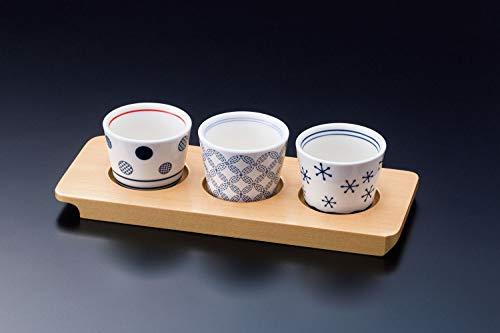 Japanisches Sake-Trinkbecherset aus Keramik, Set mit 3 Ochoko-Bechern mit Holzschale, hergestellt in Japan 26961 26962 26963 16229