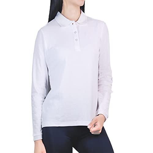 Polo Manga Larga Mujer Algodón con Botón - Shirt Camiseta Camisa Estilo Polos Regular Casual Color Liso Long-Sleeve Cuello Redondo Basico Esencial Original Piqué (Blanco, L, l)