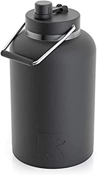 RTIC Jug with Handle One Gallon Black Matte Large Double Vacuum Insulated Water Bottle Stainless Steel Thermos for Hot & Cold Drinks Sweat Proof Great for Travel Hiking & Camping