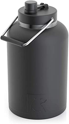 RTIC Jug with Handle,One Gallon, Black Matte, Large Double Vacuum Insulated Water Bottle, Stainless Steel Thermos for Hot & Cold Drinks, Sweat Proof, Great for Travel, Hiking & Camping