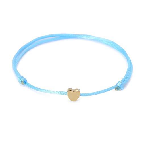 Kingus - Pulsera pequeña con forma de corazón, varios colores, cuerda ajustable, pulsera de la suerte, regalo de joyería, azul