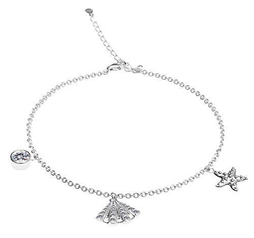 Muschel Seestern Fußkettchen Fußkette für Damen in 925 Sterling Silber mit Platin platiniert, Fuß Fuss Kette mit Anhänger, Kettchen 22+5cm