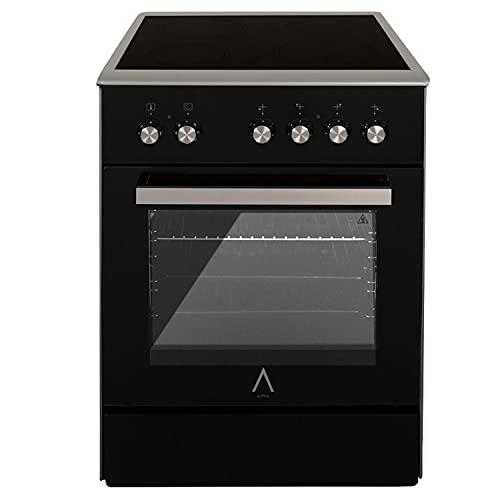 ALPHA Cocina Eléctrica VULCANO ZEUS-60 CRISTAL, Horno 7 funciones, cristal extraíble, Alta Gama**