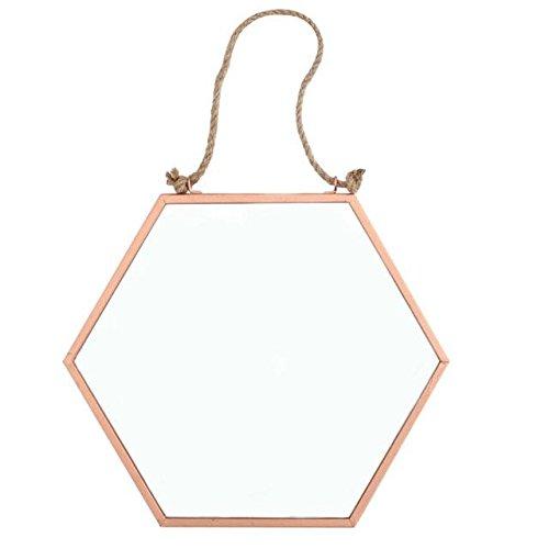 Crisp Copper - Espejo geométrico hexagonal de cobre con cordón para colgar