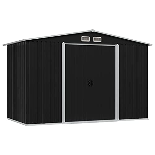 FAMIROSA Garden Storage Shed Double Sliding Doors Outdoor Tood Shed Patio Lawn Care Equipment Pool Supplies Organizer Storage Cabinet Backyard Garden Shed Tool Sheds Anthracite 101.2 x 80.7 x 70.1inch