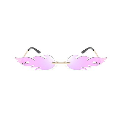 NUOBESTY Gafas con Forma de Fuego Gafas de Sol con Forma de Llama Anteojos Anteojos Favores de Fiesta Accesorios de Foto Cosplay Disfraz de Vestir Morado