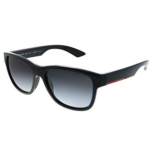 Prada Sport SPS03Q, Gafas de Sol, Rectangulares, Polarizadas, Negro (Black), 56