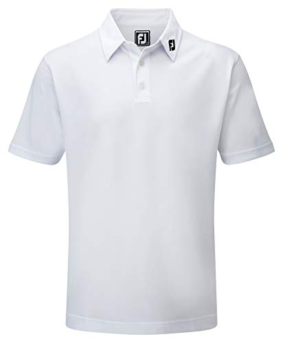 Footjoy Stretch Pique Solid Polo, Bianco (Bianco 91823), Medium Uomo