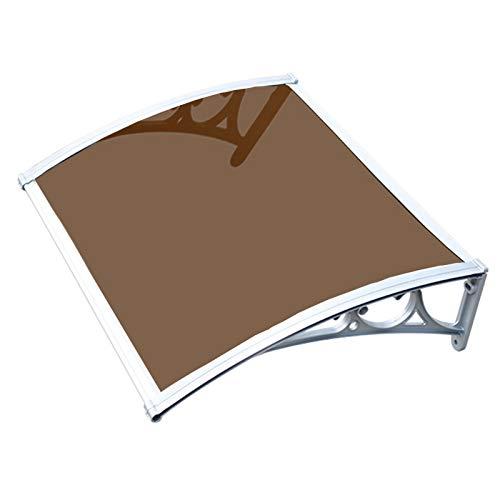 GuoWei Marquesina para Puertas Ventanas, Cubierta De Lluvia Translúcida De Policarbonato para Patio, Toldo Protección contra La Lluvia Y La Nieve Al Aire Libre (Color : Brown, Size : 80x100cm)