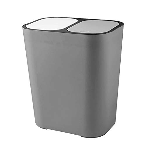 Waste Bin Kitchen Bathroom Dry and Wet Separation Trash Can Double Compartments for Waste Separation Recycling Bin, Grey/White